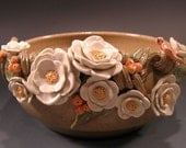 Speckled Bowl with Flowers and Butterfly