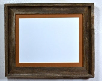 Barn wood picture frame with mat for 8x10 or 8x12 or 9x12
