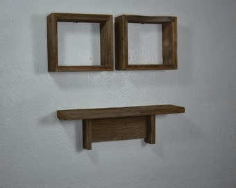 Barn wood shelf and shadow boxes eco friendly home decor