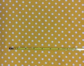 """NEW White dots on mustard cotton lycra knit fabric 95/5 58"""" wide."""