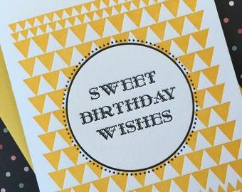 Sweet Birthday Wishes Letterpress Card