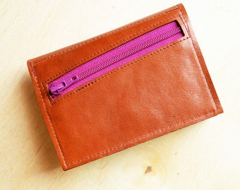 Personalized Wallet for Women, Leather Wallet, Gift for Her, Trifold Wallet, Wallet with Coin Pouch, The Frances Wallet in Cognac