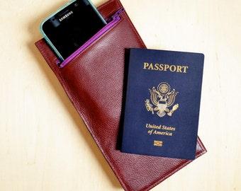 Minimalist Leather Travel Wallet, Travel Gift, Passport Holder, Slim Leather Passport Wallet - The Stella Travel Wallet in Burgundy