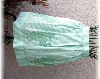 GREEN GINGHAM with GREEN Embroidery