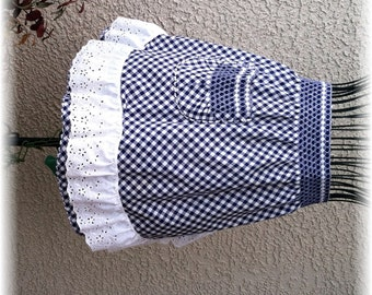 NAVY & WHITE GINGHAM with Ruffle