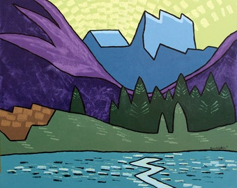 Acrylic Large Original Landscape Painting Wall Art on Canvas - Lake in the Mountains - Graphic Abstract Colorado Mountain Landscape