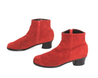 size 8 CONVERTIBLE red suede leather 70s 80s EQUESTRIAN BOHEMIAN knee high ankle boots