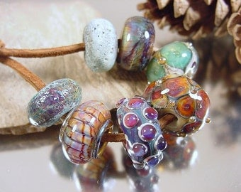 Handmade lampwork glass beads, Artisan glass beads, ivory beads, purple beads, green beads, aqua beads, matte beads, disc bead, SRA lampwork