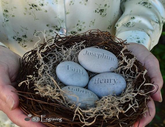 Blended family nest gifts - set of 4 engraved name stones in nest