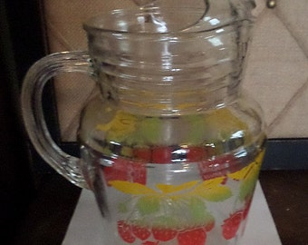 Vintage Glass Pitcher,Strawberries and Leaves pattern
