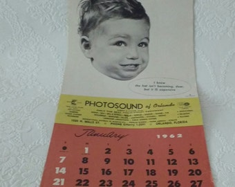 Mid Century Modern 1960's Baby Photos Advertising Calender