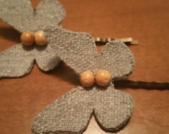Butterfly Fabric Hair Pins