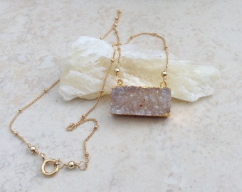 Rectangle Double Bail Druzy Pendant  Gold filled  Satellite Chain
