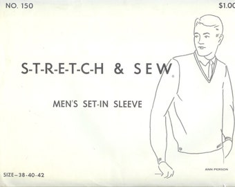 Vintage  Stretch and Sew Ann Person Mens Set-In Sleeve   Sewing Pattern 150  Size 38-40-42