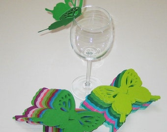 Wine Glass Butterfly Place Card Multicolor Wedding Shower Anniversary Birthday  (145)