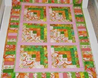 Quilted Baby Blanket Orange Green Pink Yellow
