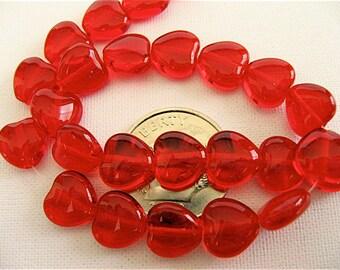 50 Siam Red Czech Glass Heart Beads 8mm