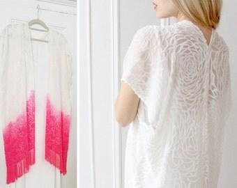 Fringe shawl burnout velvet robe kimono tassel duster white dyed fuschia bridal lingerie boho hippie chic wedding