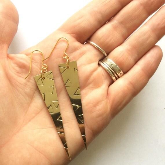 Long Drop Brass Triangle Earrings with Triangle Design - Modern - Geometric - Festival - Statement - Dangle