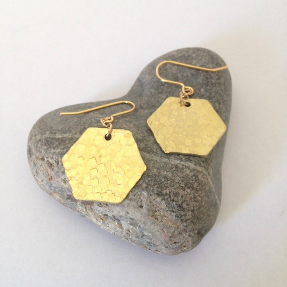 Geometric Hexagon Brass Earrings - Minimalist - Simple - Modern - Gold - Golden - Everyday - Gypsy - Festival -