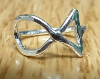 Small Jesus Fish Ring, Pinky RIng,  Silver Ichthus Ring, US Size 2 Fish Ring, Christmas Jewelry, Christian Faith Ring Maggie McMane Designs
