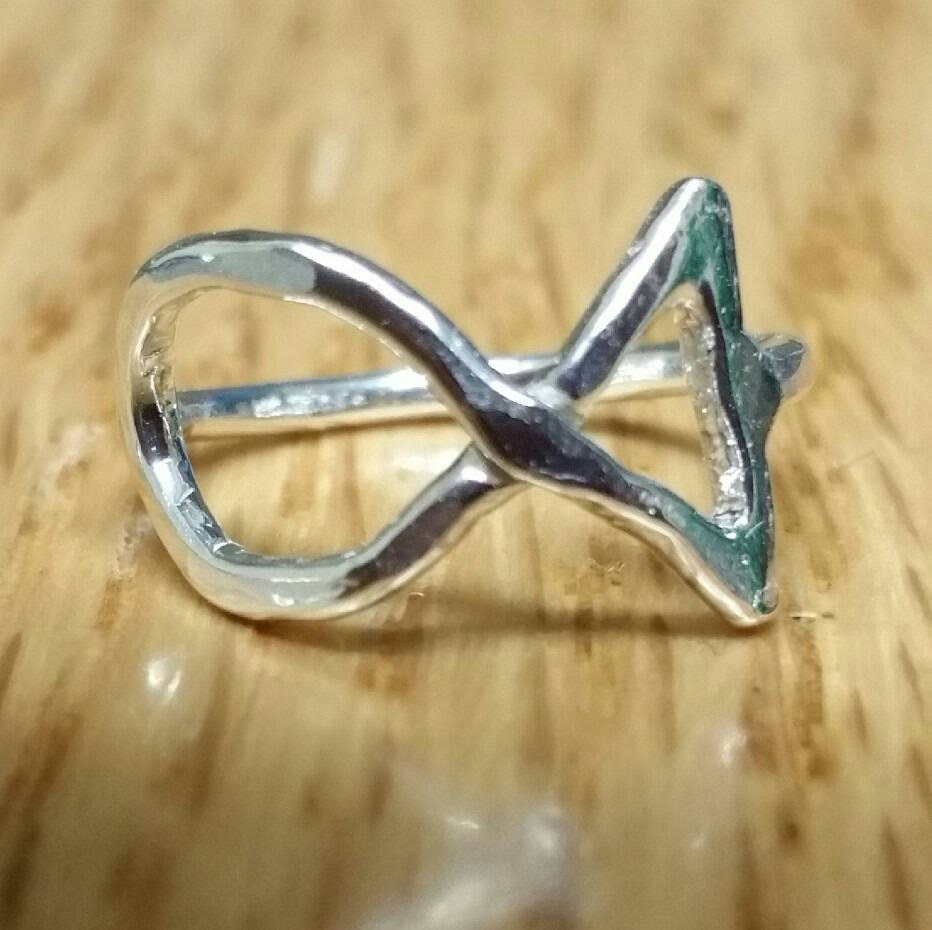 small jesus fish ring ring silver ichthus ring us