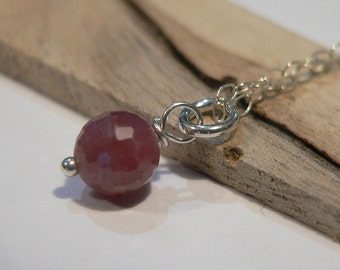 Ruby Necklace, Sterling Silver Necklace, Faceted Ruby Necklace