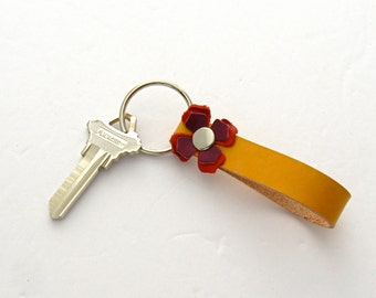 Handmade Leather Key Fob Mexico Inspired Gift Yellow Leather Keychain Flowered Key Ring Leather Flower Keychain Women's Keychain
