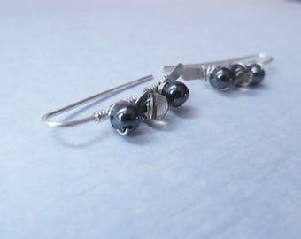 Ear Climbers//PAULA...Gemstone Wrapped Sterling Silver Ear Climbers//Ear Pins//Ear Bars...Hematite & Smoky Quartz