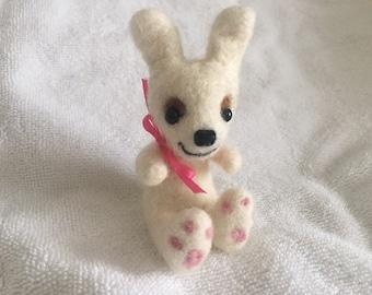 Carmel the needle felted white rabbit