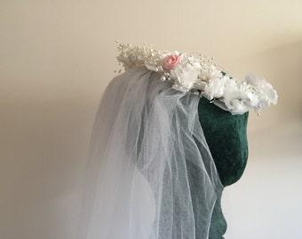 Bridal Wreath Headpiece Vintage 1980s with Veil