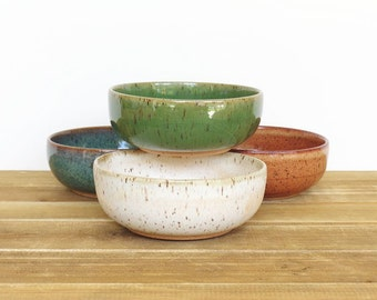 Prep Bowls Stoneware Ceramic Snack Pottery Bowls in Four Glazes