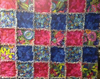 "Rag Quilt Modern From Midnight Gardens Collection  Magenta Royal Blue Florals 42"" X 42"" Cotton  Baby Toddler  Lap Blanket Baby Shower"