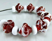 Red White Baroque Lampwork Beads Set SRA Glass Beads