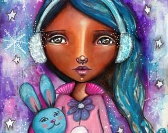 Snow Princess with Bunny - Art Print