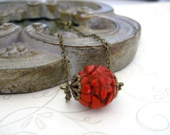 Red flower necklace, carved  bead, Gift for her, dainty chain, brass or gold, minimalist necklace