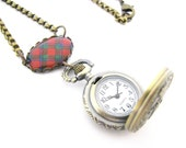 Scottish Tartan Jewelry - Ancient Romance Series - Sinclair Clan Tartan Ornate Working Watch Fob Necklace with Figure 8 Box Chain