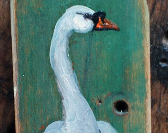 "3"" Mute Swan on old wood"