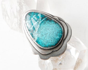 Ruffle Ring - Serling Silver and Chrysocolla Stone Ring