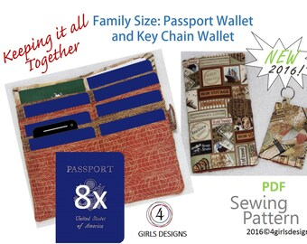 New Instant Download Sewing Pattern Family Size Passport Wallet and Key Chain Wallet. Keep It All Together.