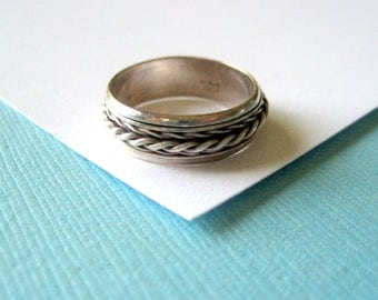 Sterling Silver Braided Spinner Ring Size 5.5