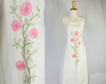 Vintage 1960's Shift Dress Mod Pink Embroidered Flowers Adorable