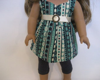 18 Inch Doll Clothes - A Little Aztec Top with Jeggings made to fit dolls such as American Girl doll c!othes