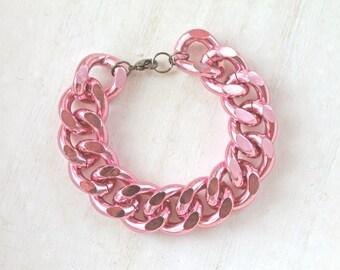 Chunky chain bracelet pink modern fairy kei kawaii lolita