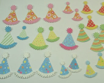 Glitter Party Hat Cutouts With Adhesive Backs For Paper Crafting, Scrapbooking, Mixed Media