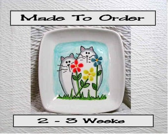 Cats & Flowers On Square Ceramic Dish Blue Handmade Pet Dish by GMS