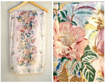1930s floral silk scarf / pastel pink sage buttery yellow / hand rolled edges / oblong 52 inches