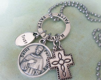 St. Peregrine Prayer for Cancer Patients Charm Necklace, Faith, Trust, Cross, Get Well Gift, Cancer Patient, Catholic Jewelry