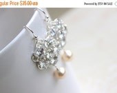 27% Off Sale Bridal Earrings Swarovski Pearl CZ Sterling Silver Chandelier AE1