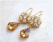 27% Off Sale Bridal Earrings Swarovski Teardrop CZ Gold Filled Chandelier AE2G